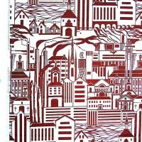 Tyg för Norrköpngs stadsteater, 1953. Tryckt hos Tabergs Yllefabrik. Nytryckning 2001 hos Ljungbergs Textilindustri. Till försäljning på Norrköpings Stadsmuseum. Foto Maria Tarkpea