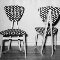 Stolar klädda med tyget Venezia. Utställda på Norrköpings Konstmuseum 1953