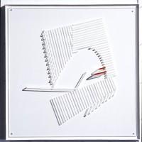 Rymdkabinen, 1984, relief i plexiglas i plexiglaslåda,55x55x7,5 cm. Foto Pelle Stackman