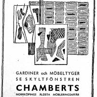 Annons i lokalpressen 1954. Foto Fredrik Chambert